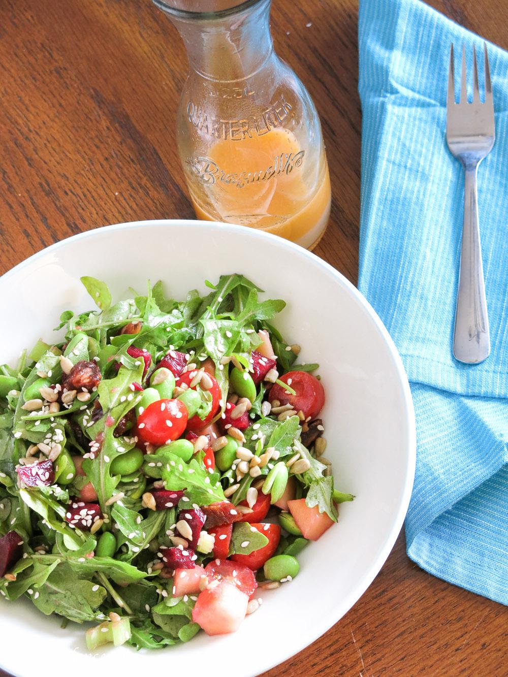 Arugula and Edamame Salad | www.infinebalance.com #salad #vegan