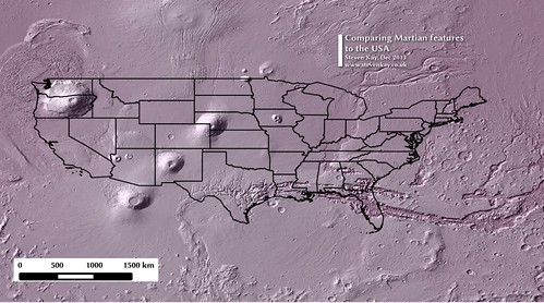 Comparing Martian features to the USA