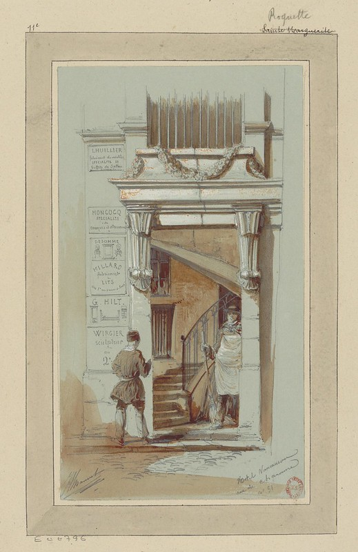 watercolour & pen sketch of 19th century Paris urban scene - 2 figures in entranceway of narrow tall ornate building with curved stairway