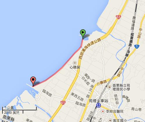 苑裡沙灘位置是意圖,圖片來源:Google地圖。