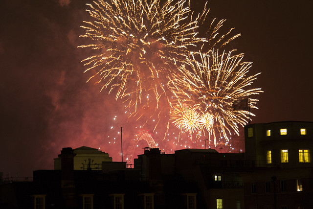Fireworks seen from the Royal Opera House Amphitheatre Terrace on New Year's Eve 2013 © ROH Restaurants / Lia Vittone 2013