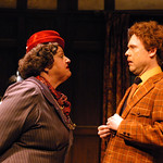 The Mousetrap - Pictured: Kathleen M. Brady (Mrs. Boyle), Thadd Krueger (Christopher Wren) Photo: P. Switzer Photography 2014