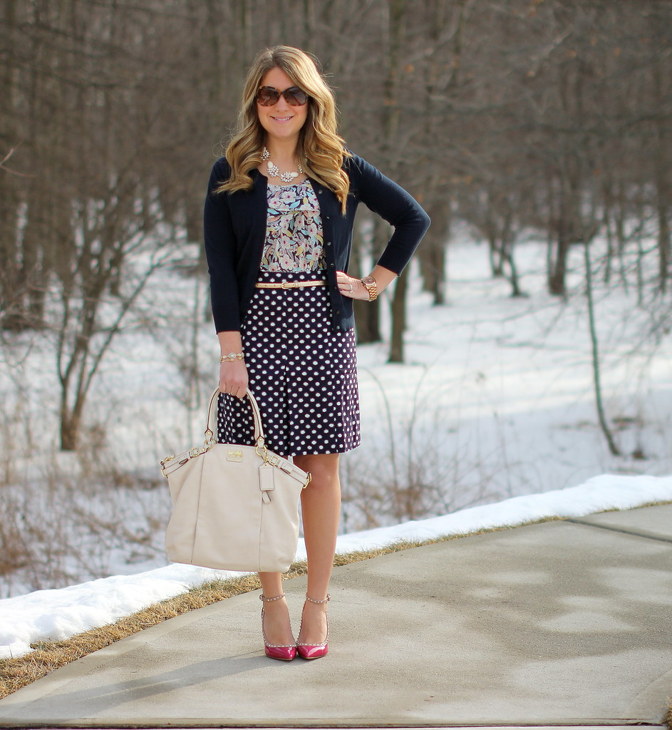 floral and dots work outfit, Boden Pretty Pleat Skirt