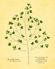 Family tree with names art light yellow brown present day green leaves