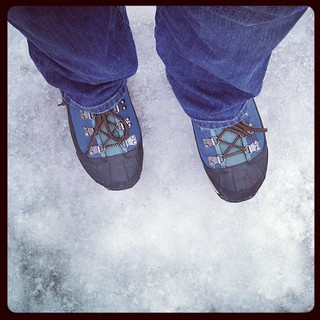 Its an icy, wet mess out there! The nasty aftermath of snow, #ice ugh But these #Bogs are the best clearance #shoes I've ever bought! #newengland #winter