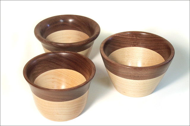 Three Small Maple Walnut Bowls