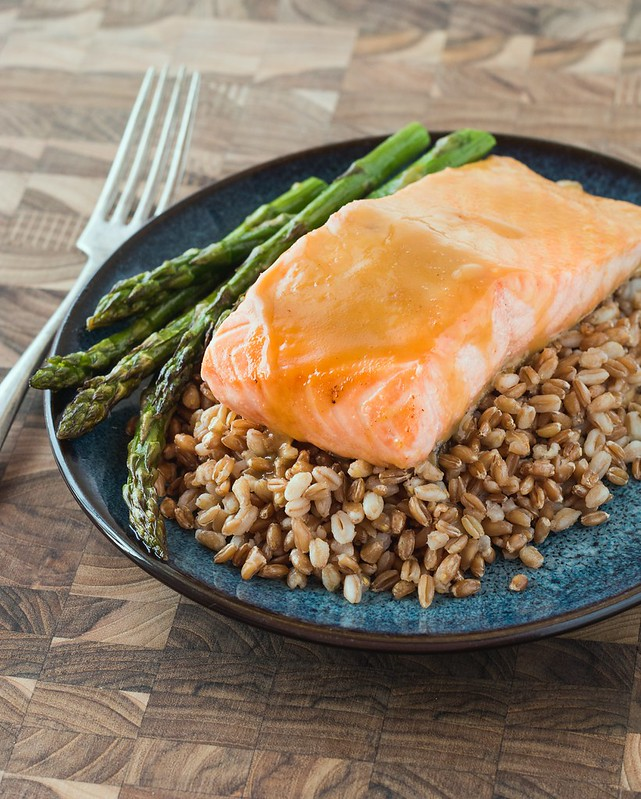 Maple Dijon Glazed Salmon with Farro and Asparagus