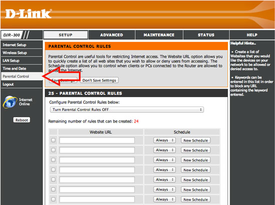 How to block websites using Dlink Router Step 2