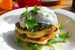 Pumpkin, Feta and Quinoa Pancakes with Poached Egg…