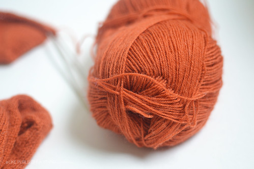 "Lion Brand Sock in ""Circus peanut"""