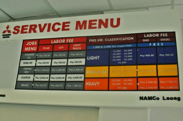 Mitsubishi Laoag Service Menu