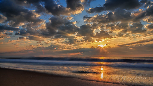 longexposure beach clouds sunrise waves unitedstates delaware bethanybeach