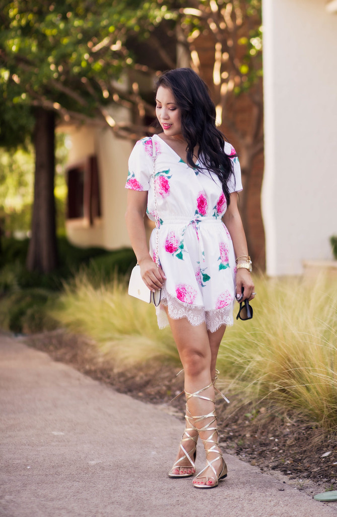 cute & little blog | petite fashion | white pink floral lace romper, gold lace-up gladiator sandals | spring summer outfit