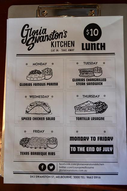 Gloria swanston 39 s kitchen aud10 lunch menu the lounge for Z kitchen jogja menu