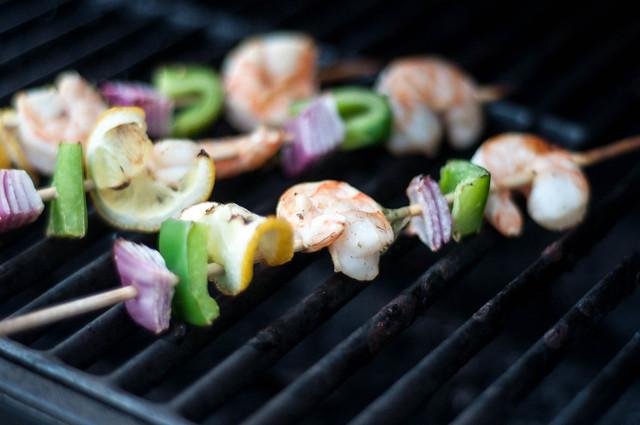 BBQ prawn kebabs