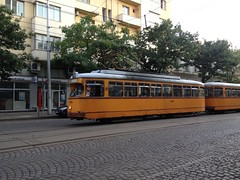 cable car(0.0), luxury vehicle(0.0), vehicle(1.0), tram(1.0), transport(1.0), mode of transport(1.0), public transport(1.0), passenger car(1.0), rolling stock(1.0), land vehicle(1.0),
