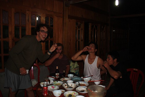 enjoying rice wine with our gracious hosts on the second night