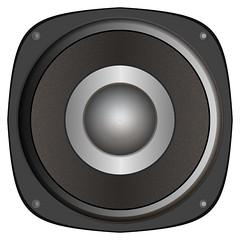 studio monitor(0.0), wheel(0.0), multimedia(0.0), sound box(0.0), car subwoofer(1.0), loudspeaker(1.0), subwoofer(1.0), electronic device(1.0), computer speaker(1.0), electronics(1.0), circle(1.0),
