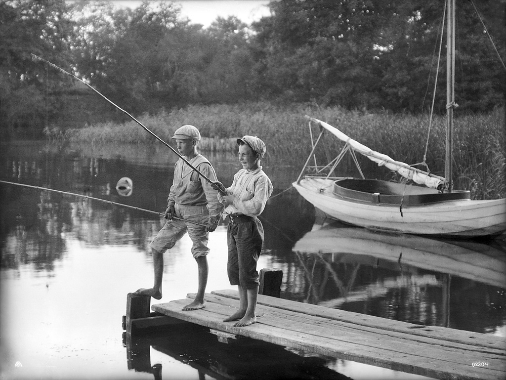 Boys fishing, Sweden