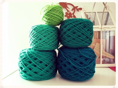 Green yarn cakes