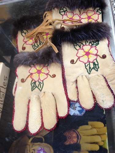 Mildred Jonathan Crafted These Athabascan Leather Gloves With Traditional Beadwork. They're in Chistochina, Alaska at Posty's Trading Post.