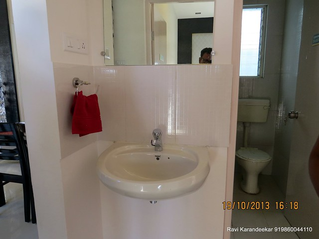 Wash Basin & Common Toilet - Visit 2 BHK Show Flat of Vastushodh Projects' UrbanGram Kolhapur, Township of 438 Units of 1 BHK 2 BHK Flats, behind S. P. Office, near Dream World Water Park, Kolhapur 416003 Maharashtra, India