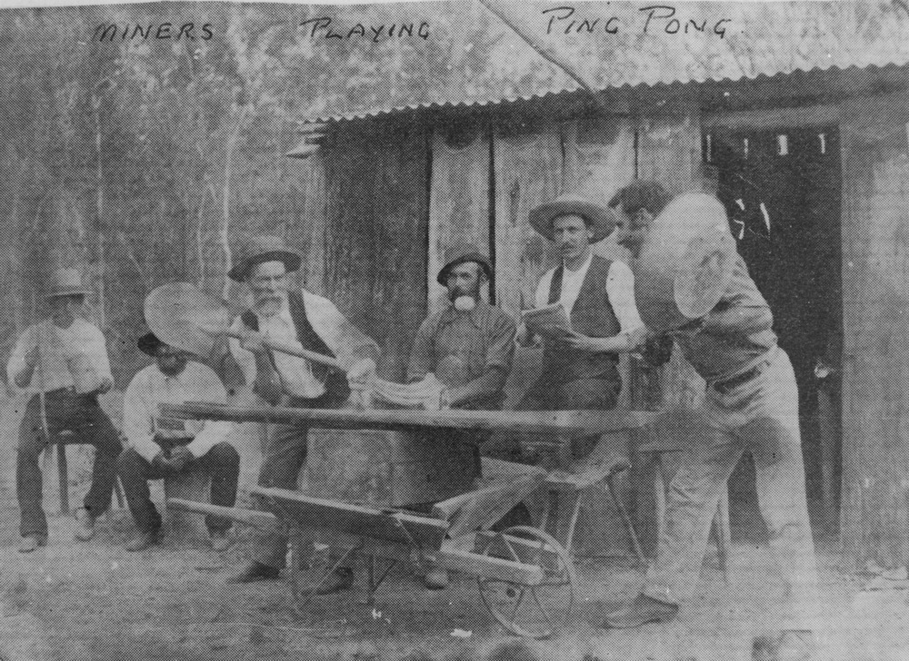 Miners playing ping pong in Queensland, ca. 1890