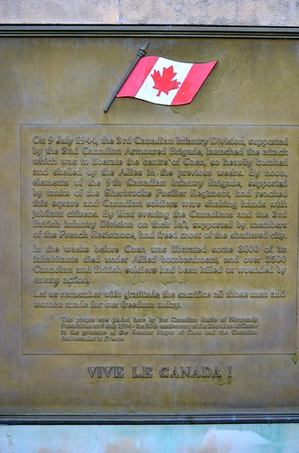 One of the many monuments in Caen celebrating the city's liberation by the Canadians