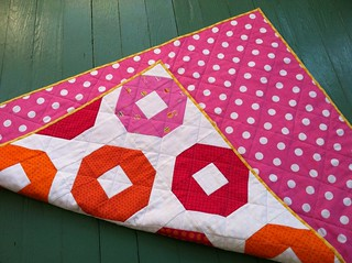 Pink & Orange polka-dots quilt
