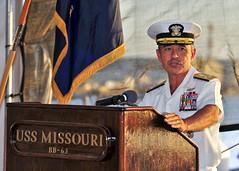 Pacific Fleet Commander Adm. Harry B. Harris Jr. speaks during a Veterans Day ceremony aboard the Battleship Missouri Memorial, Nov. 11. (U.S. Navy photo by Mass Communication Specialist 3rd Class Diana Quinlan)