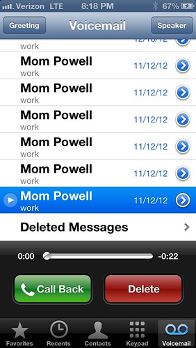 voicemails from Mom