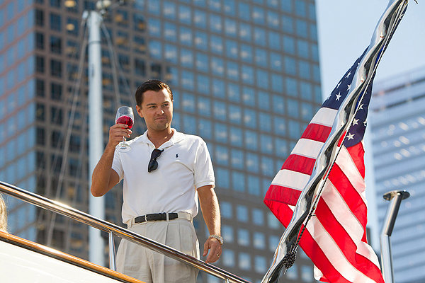 Leonardo DiCaprio toasts to being THE WOLF OF WALL STREET.