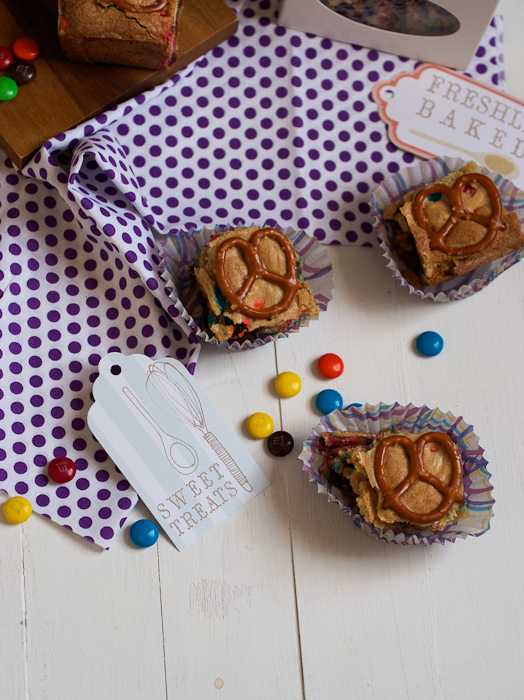 M&M and Pretzel Cookie Bars #BakingIdeas #shop #cbias