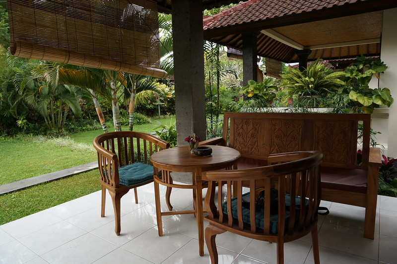 Private terrace of our cottage in Ubud