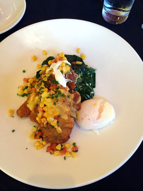 paneed rabbit, tomato & sweet corn compote, collard greens and bacon hollandaise