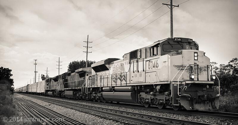 Union Pacific 8746 and CSX 7377 in Geneva, Illinois