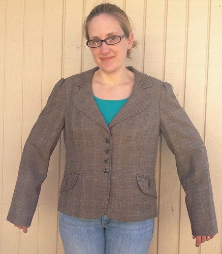Plaid Blazer Refashion - Before