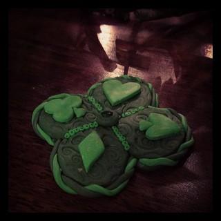 Maddy's #fimo #stpatricksday lucky #shamrock charm.