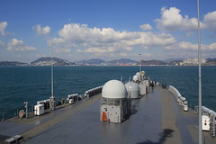 USS Blue Ridge (LCC 19) prepares to arrive in Busan for a port visit March 3. (U.S. Navy/MC3 Jared Harral)
