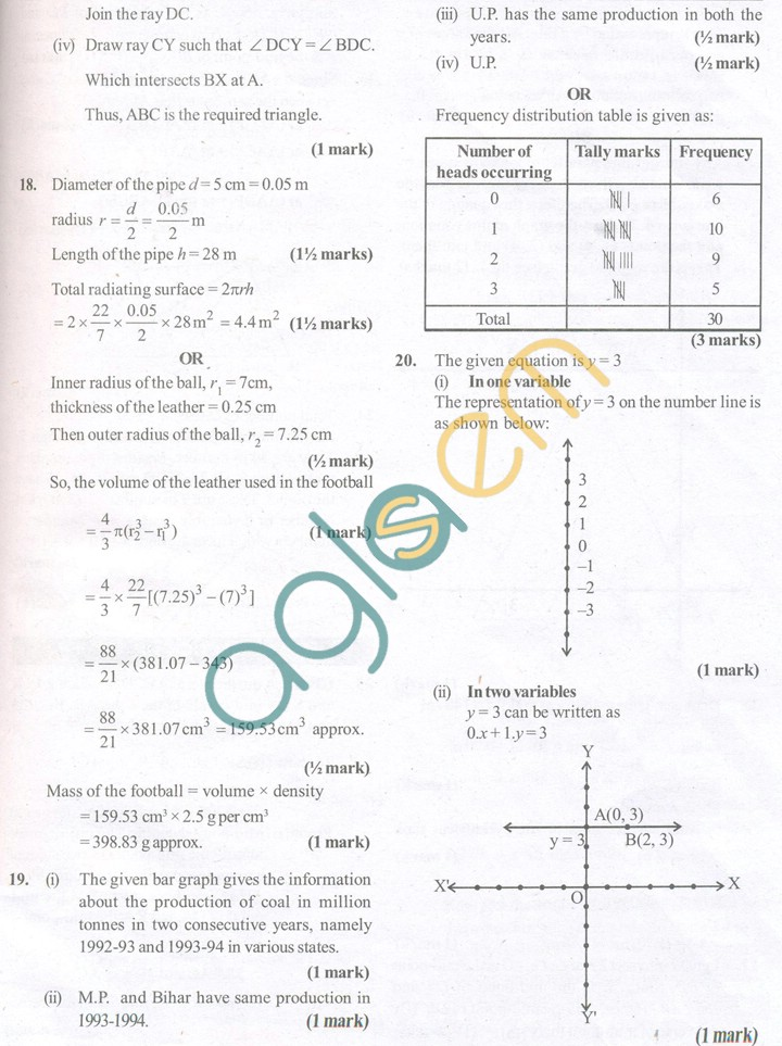 CBSE Solved Sample Papers for Class 9 Maths SA2 - Set B