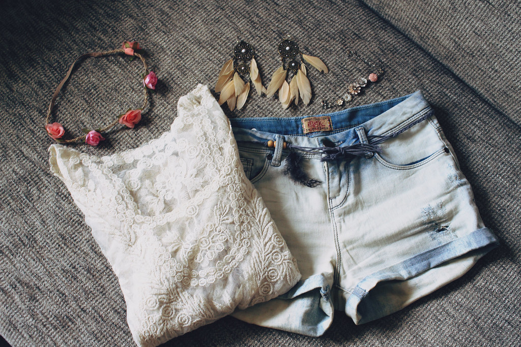 romantic summer outfit- high waist jean shorts, see through lace blouse, flower headband