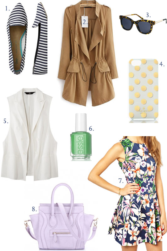 spring wardrobe updates under $50, Gap striped pointy toe flats, Sheinside trench coat, Kate Spade Le Pavillion iPhone case, AX Paris Floral Skater Dress, Essie Mojito Madness nail polish, Target Mossimo collared vest, spring fashion under $50