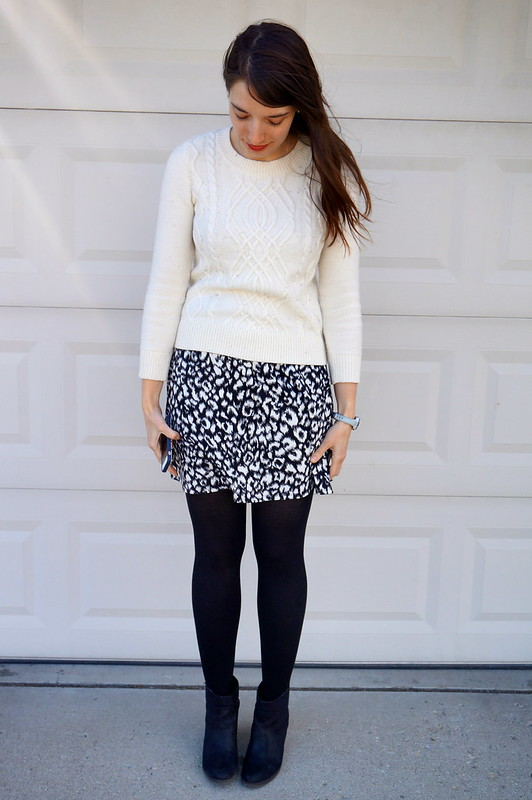 snow leopard dress and cable white sweater