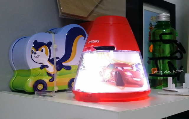 Disney Cars night light at Jerry's bedside cabinet.