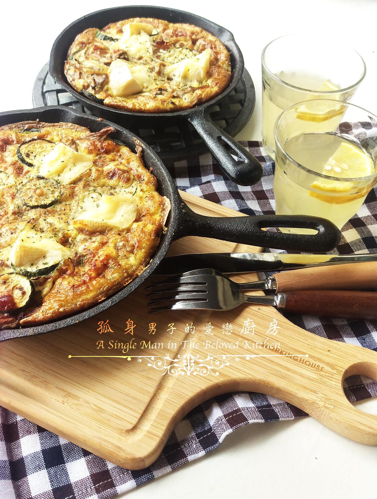 孤身廚房-清冰箱簡單早午餐!培根野菇櫛瓜義式烘蛋Frittata21