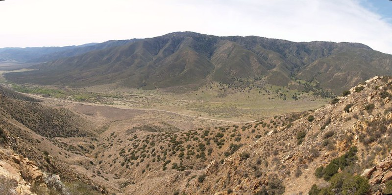 PCT San Felipe Hills - Panorama view looking west toward Volcan Mountain, Highway S2 down below us