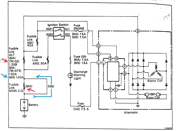fl 2 0l battery fuse how 2 replace this tsrm charging diagram it seems that fl 2 0l is only for 7m ge engines 7m gte takes detour and battery is connected directly to fuse box j b no 2