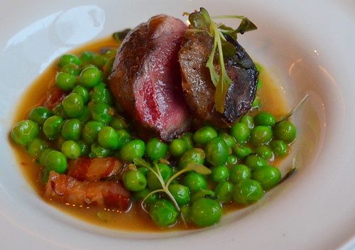 Pigeon Breast with Peas and Pancetta