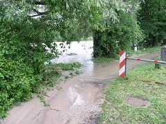 Trostberg-Hochwasser Alz-Juni 2013-Eisenbahnbrücke Radweg gegenüber Pechlerau