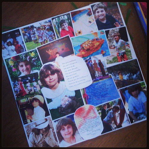 Scrapbook page for departing class teacher. So hard to put 5 years of growth and precious experiences on one page.